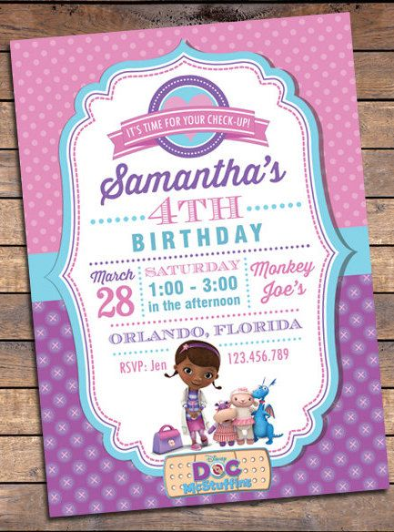 Doc McStuffins Birthday Party Planning, Ideas & Supplies >> Party Invitations
