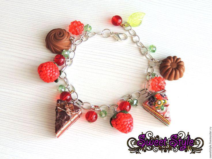 """Купить Браслет """"Сладкий подарок"""" - комбинированный, браслет, браслет со сладостями, сладости из пластики, тортики"""