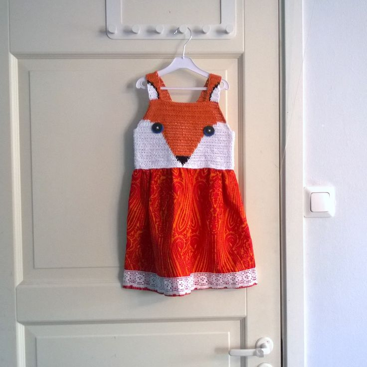 cute little fox dress, crochet and sewing diy