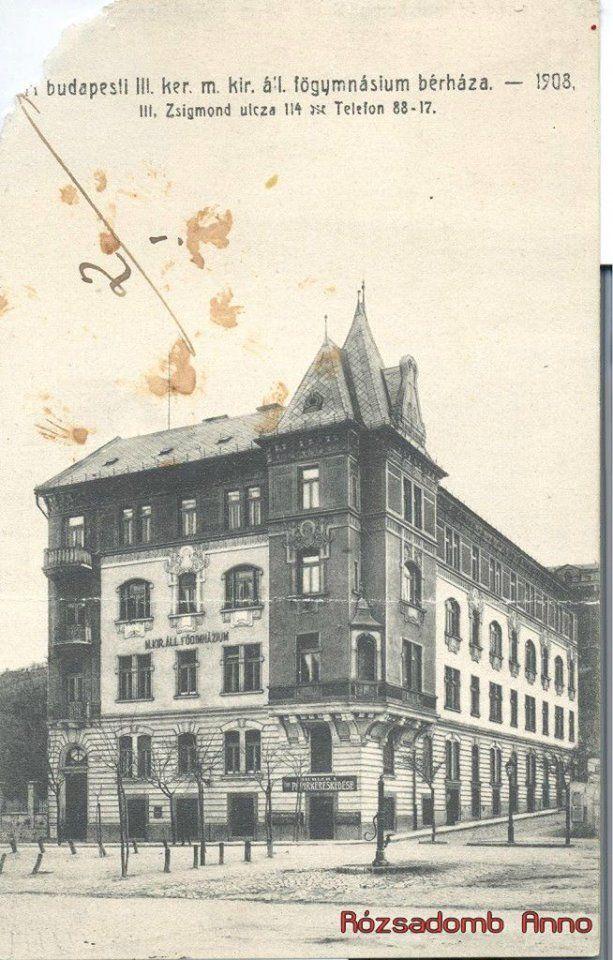 Zsigmond tér, a régi Árpád gimnázium, 1908