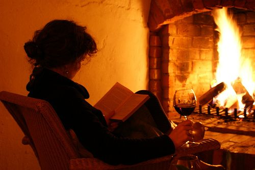 winter-a fire, wine and a good book.
