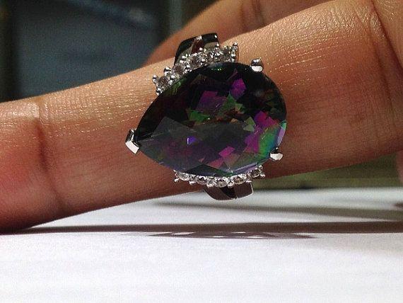 12.00 quilates topacio místico anillo de diseño en plata de