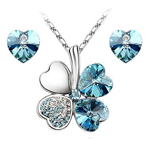 Le Premium® Schmuck-Set vier Blättern Klee Halskette+ohrring Gestüt Herz geformt Swarovski Aquamarine Blau Kristalle - http://schmuckhaus.online/le-premium/le-premium-schmuck-set-vier-blaettern-klee-herz-2