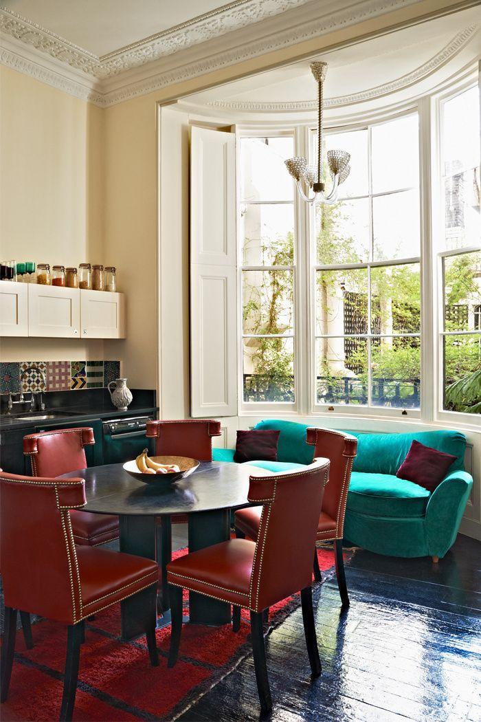 Dining nook | Huge bay windows | Jewelry designer Solange Azagury-Partridge's London home.