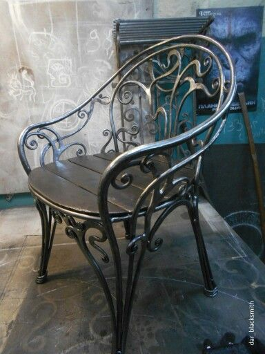 Beautiful forged steel chair. #blacksmiths rock!