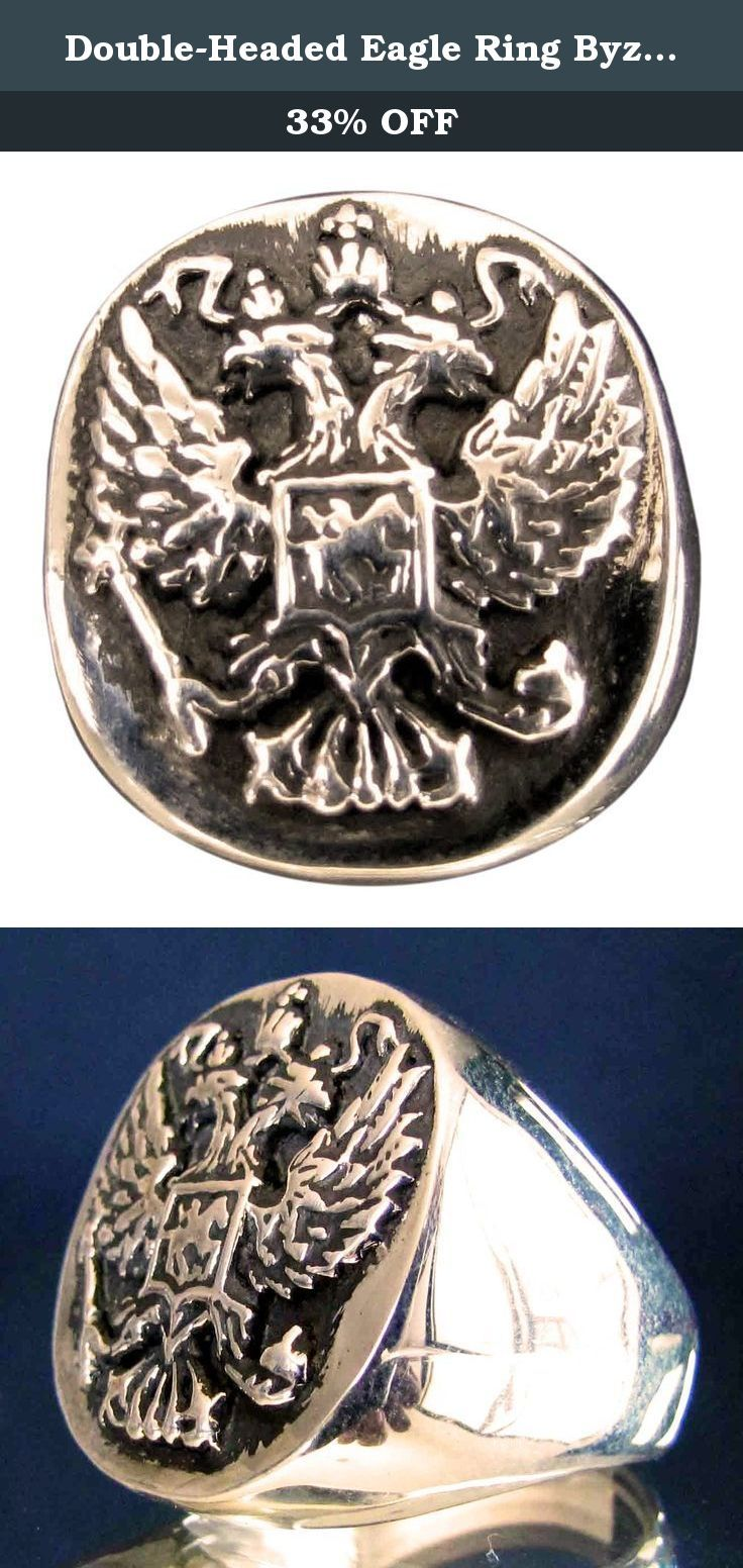 Double-Headed Eagle Ring Byzantine Emperor Russia COA in Bronze - Size 11. A unique design, hand crafted and highly detailed. This ring is solid bronze but shines like gold. The Process First, the ring is carefully carved out of wax which is then used to form a plaster mold. Next, castings can be made with molten metal, ie. sterling silver and bronze. Then are the final stages of hand polishing and thorough quality checks. Sizing: Although it can sometimes be difficult to determine your...