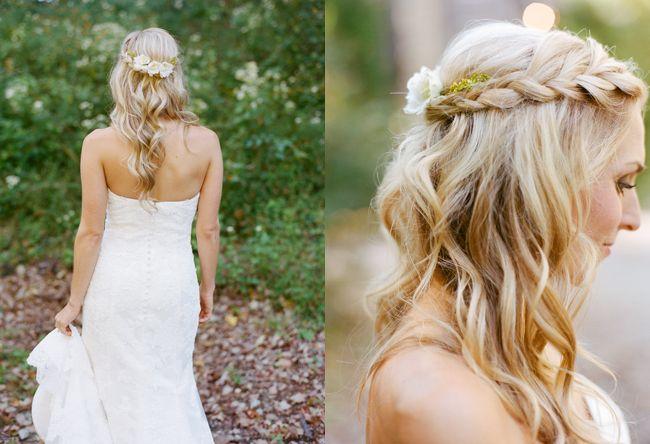 wavy half up half down braid wedding hairstyle | photo: austingrosblog.com
