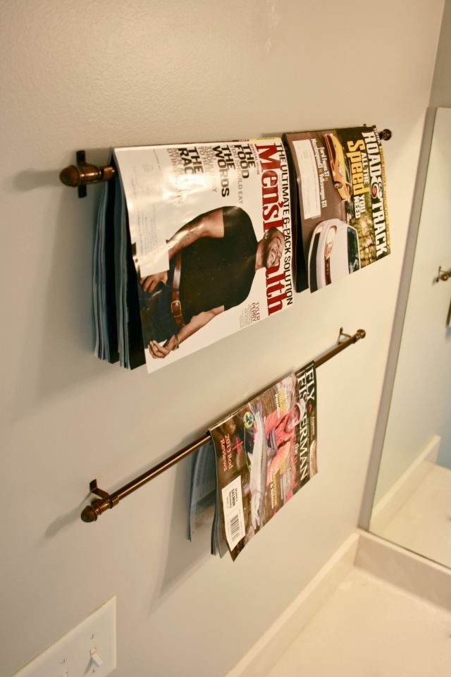 Downstairs bathroom  New Use: Cafe Curtain Rod to Magazine Holder