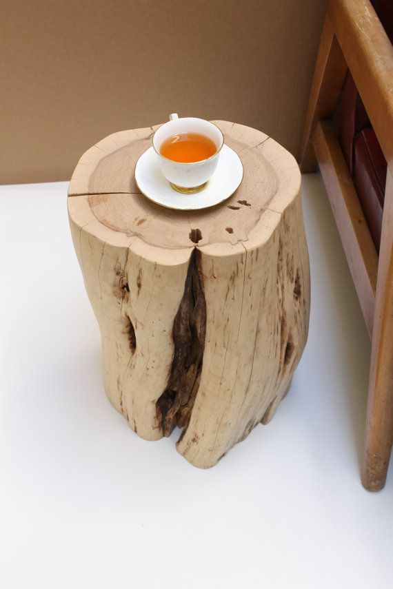 TEA TIME Stump Table Live Edge Kiln Dried Level Minimalist Stand Pedestal. Organic modern stool in a minimalist design for home or office. A