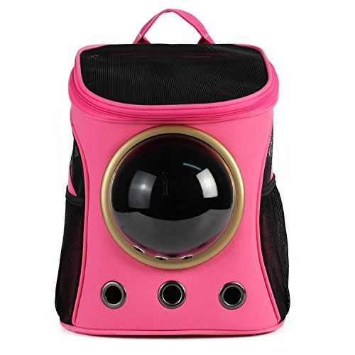 SmartandGear Airline Travel Approved Soft Sided Pet Carrier Backpack with Switchable Bubble Mesh Canvas for Cats Gogs Small Animals( (B-Rose)