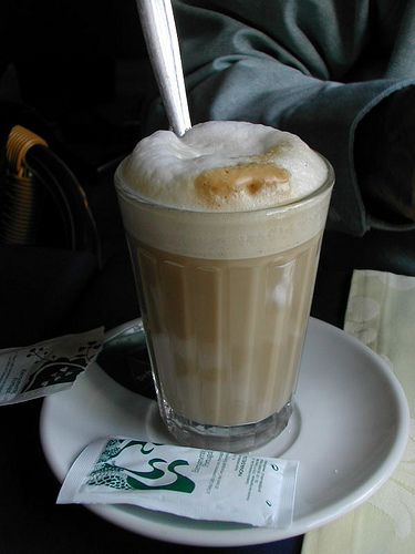 """""""Galão"""", so Portuguese, draught hot milk and coffee. So simple, so yummy! :)"""