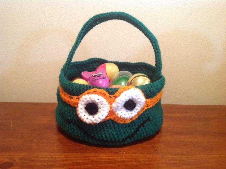 Teenage Mutant Ninja Turtle Crochet Easter Basket - Large - PDF PATTERN. $4.00, via Etsy.