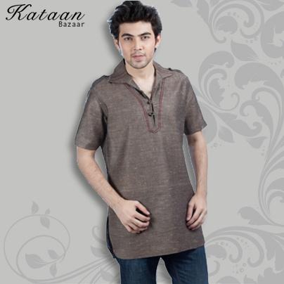 Brown Color Cotton Khadi Kurti