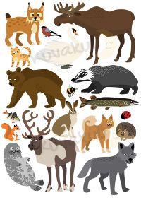Juliste. Suomalaisia eläimiä.