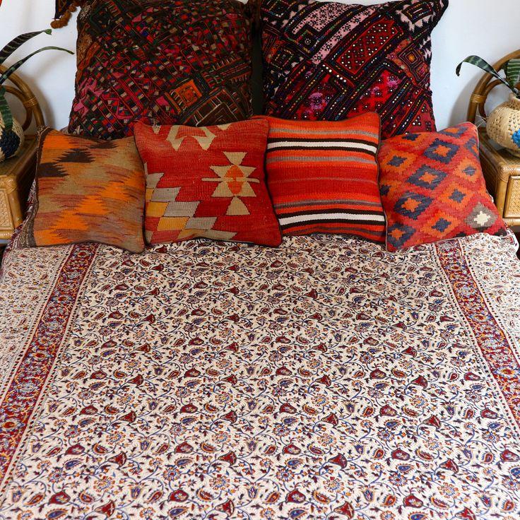 Ghlamkar Throw. Hand block printed from Iran #throw #blockprinted #patterns #kilimcushions #bohemiandecor #boho #bedroom