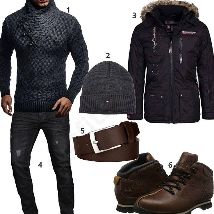 Winteroutfit mit dunkelgrauem Strickpullover (m0754) #pullover #parka #jeans #outfit #style #herrenmode #männermode #fashion #menswear #herren #männer #mode #menstyle #mensfashion #menswear #inspiration #cloth #ootd #herrenoutfit #männeroutfit