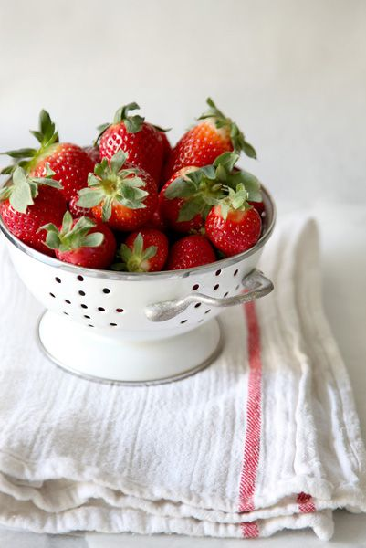 strawberries, fresh strawberries in colander