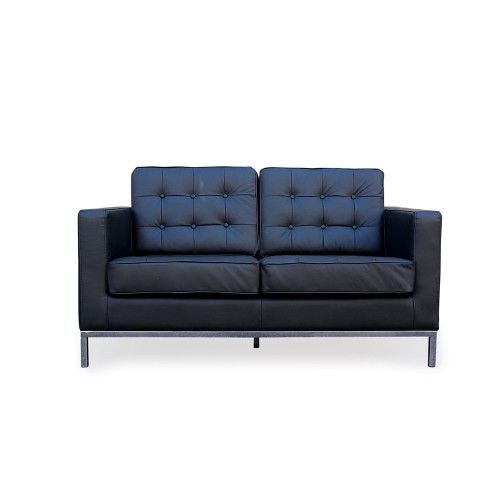 Florence Knoll Leather 2 Seater  Black Lounge Replica