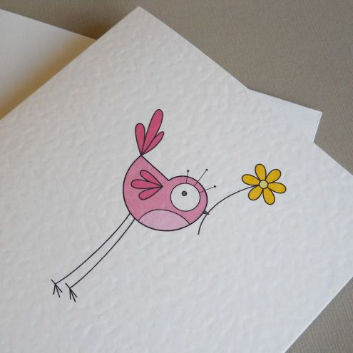 pink bird greetings card. #card #pink