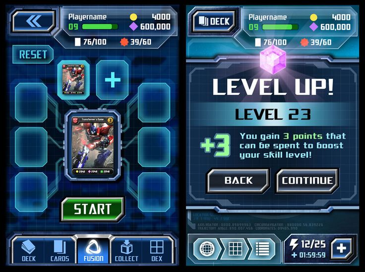 HUD and UI mockups for ngmoco's Transformers Legends mobile card game. (character artwork is the property of ngmoco and/or Hasbro)