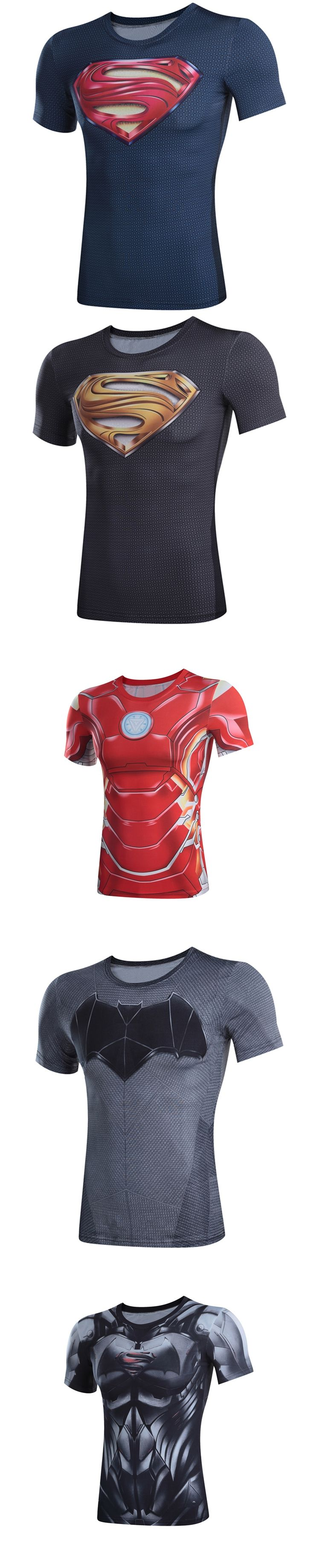 3Dt-shirts Superman captain America 3 digital printing compressed t-shirts men Deadpool iron Man Short sleeve model