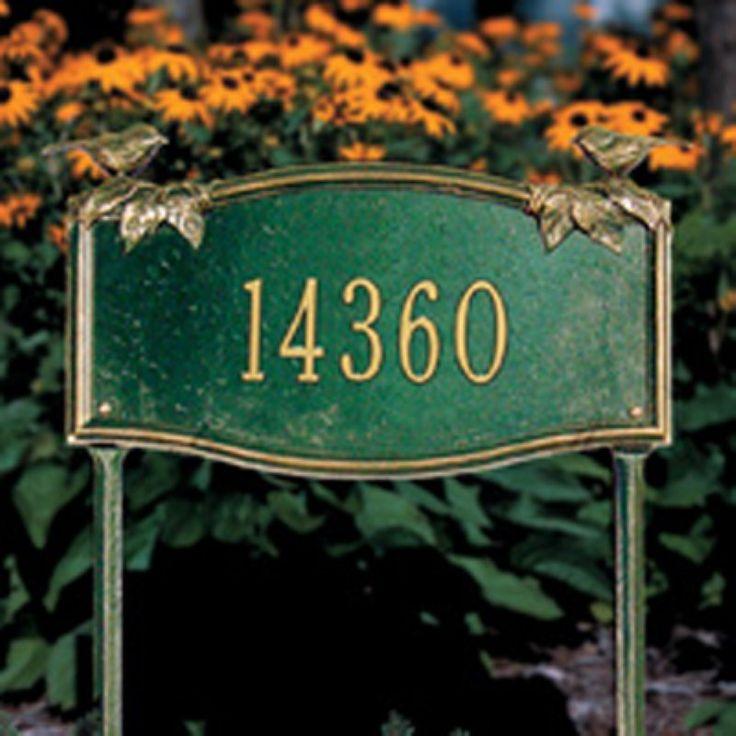 Whitehall Vine/Chickadee 1 Line Standard Lawn Garden Plaque Dark Green/Silver Letters - 5185GS