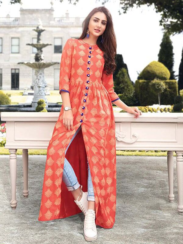 Orange Rayon Printed Anarkali Kurtis Zipzapshoppy
