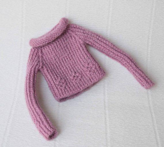 Blythe lila manga larga muñeca suéter mano blythe ropa Lilc muñeca traje manga larga blythe Jersey miniatura tejido de punto