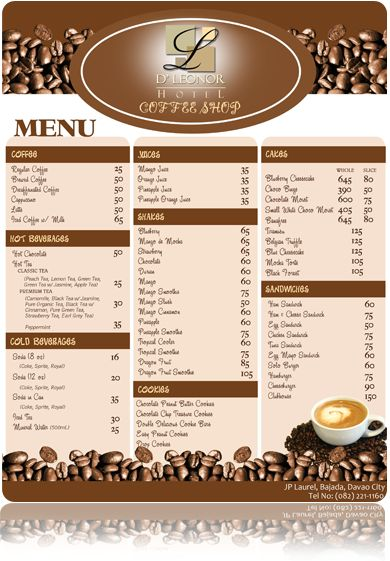 Coffee Shop Menu | Graphic design | Pinterest