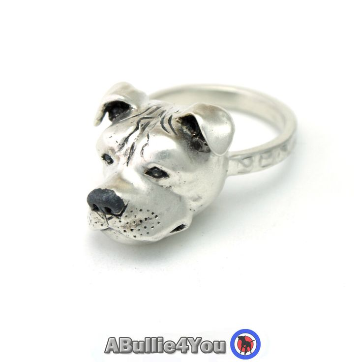 Staffordshire Bull Terrier Ring (Large Head Ring) handmade from 925 Silver - Ideal Christmas Gift by ABullie4You on Etsy https://www.etsy.com/listing/251464404/staffordshire-bull-terrier-ring-large