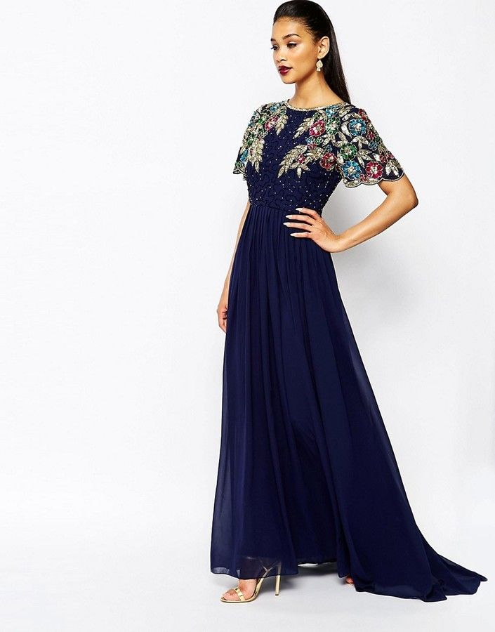 Virgos Lounge Ariann Embellished Maxi Dress With Full Skirt - Navy