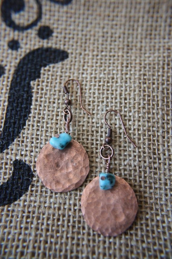 Hand Hammered Penny Earrings with Turquoise by artistrybyannie, $15.00  I would love to make something like this! Love the hammered look right now