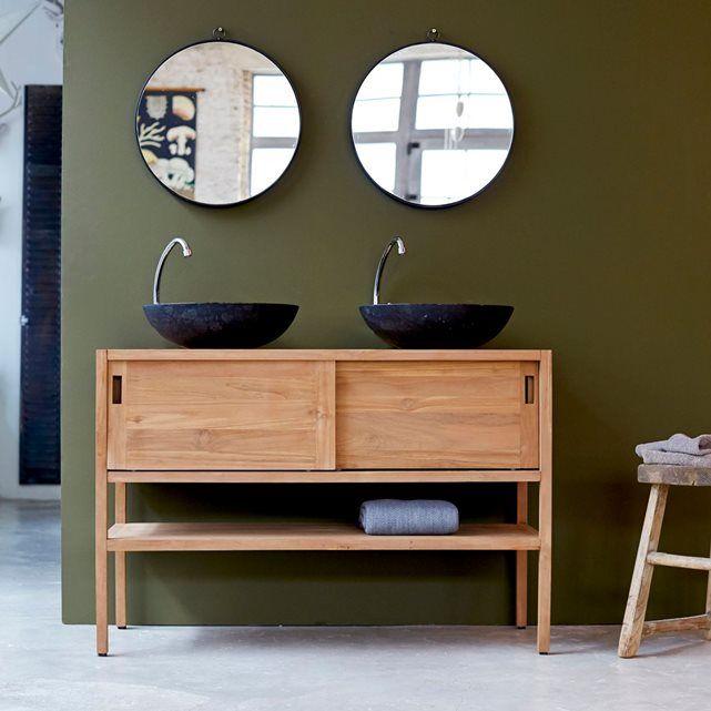 meuble salle de bain en bois de teck brut 120 arty - Meuble Salle De Bain Grande Vasque