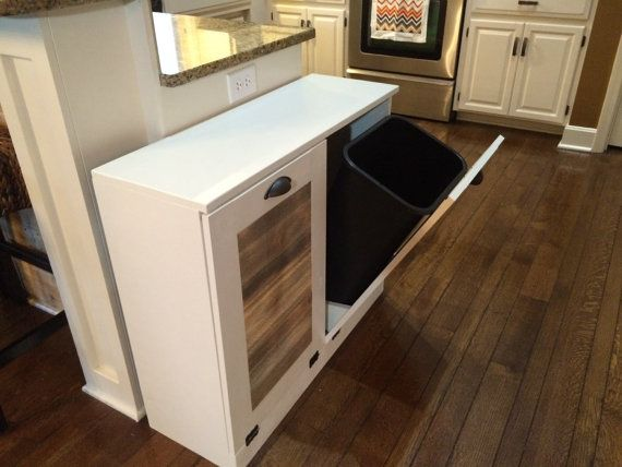 Double Trash Recycle Bins Rustic Tilt Out Trash By Lovemade14