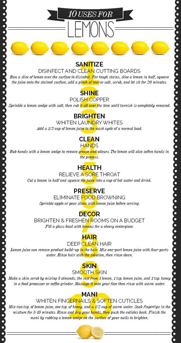 We all know lemon smells amazing when used as a cleaning product and here are some other ways to use lemon! 10 clever ways to clean, shine, polish and decorate your home using lemons.