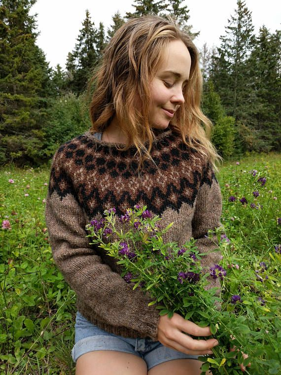 Icelandic Sweater / Lopapeysa Hand Knit in Murky Black and