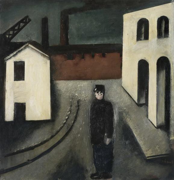 """Mario Sironi Sassari 1885 Milano 1961 """"  Paesaggio urbano con ferroviere"""" (noto anche come """"Paesaggio urbano con vigile"""") 1924   olio su tavola, cm 54,4x51,7"""