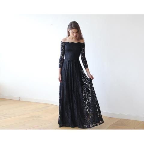 Off-The-Shoulder Black Floral Lace Long Sleeve Maxi Dress
