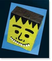Monster mash. Create this spooky monster mask using a paper bag and a few Resene testpots.