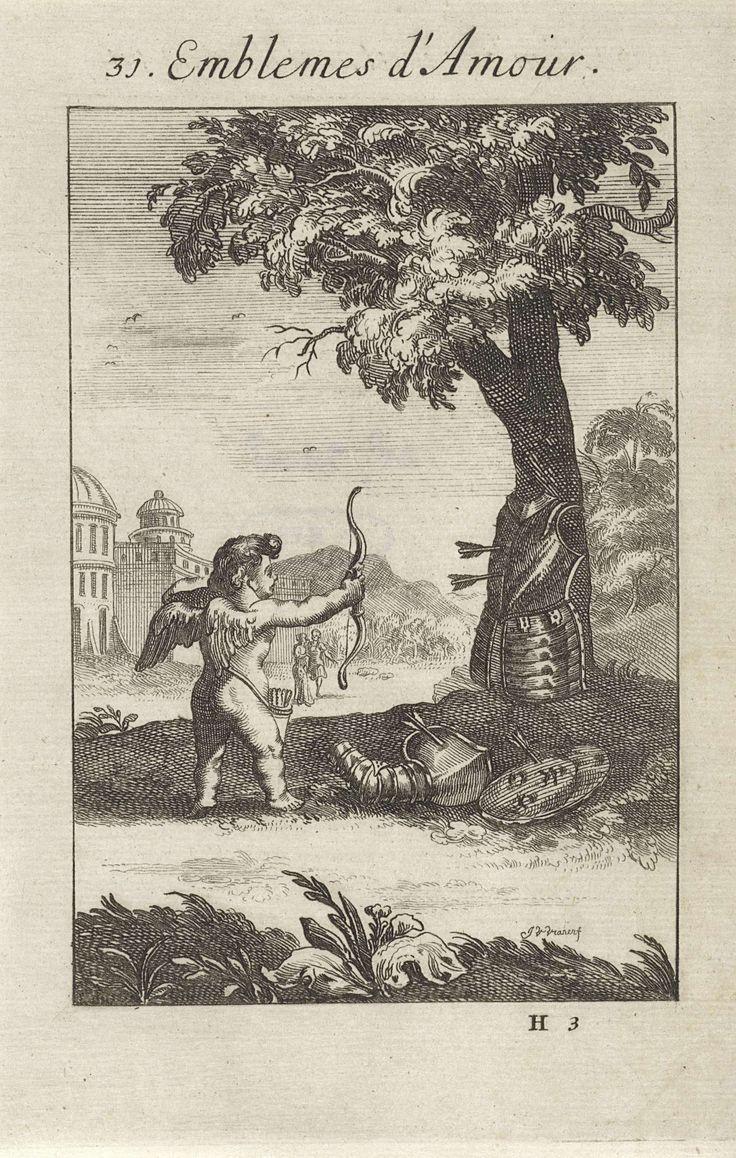 Jan van Vianen | Amor schiet pijlen af op een harnas, Jan van Vianen, 1686 | Amor schiet met pijl en boog zijn pijlen af op een harnas, dat aan een boom is bevestigt. Niets houdt de liefde tegen. De schoten van de liefde zijn sterker dan die van Mars. Eenendertigste embleem uit Emblemata Amatoria.