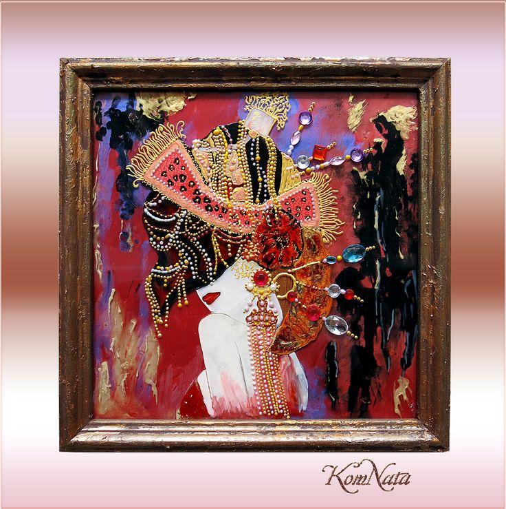 Картина на стекле Девушка в шляпе. Витражные краски, контуры.