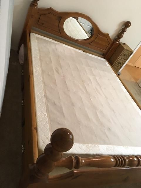 FREE: Queen sized pine bed frame with mirror and mattress [u'Saanich'], Victoria - MOBILE