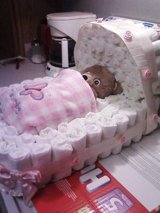 Diaper Pyramid For Baby Shower Part - 22: Bassinet Diaper Cake. Diaper Baby ShowersFavors ...