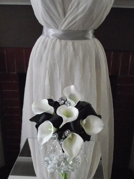 black and white / ivory bridal bouquet, black bridesmaid bouquet,  brooch alternative, calla lilies, affordable on Etsy, $39.95