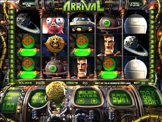 Play the Arrival video slots game in 3D for money or free at 1onlinecasino.com