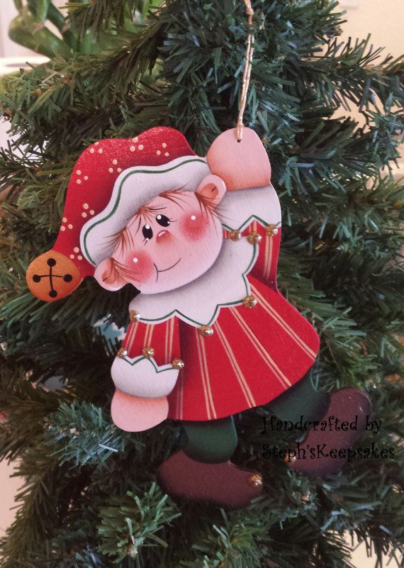 Handpainted Christmas elf Ornament