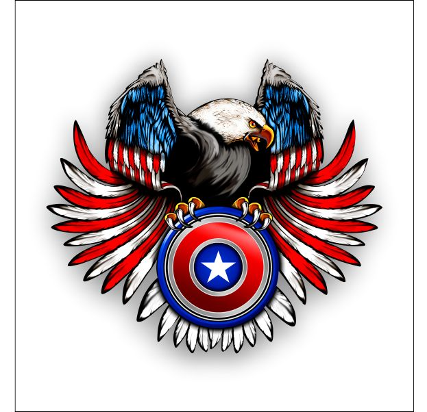 Americn flag eagle on shield sticker decal