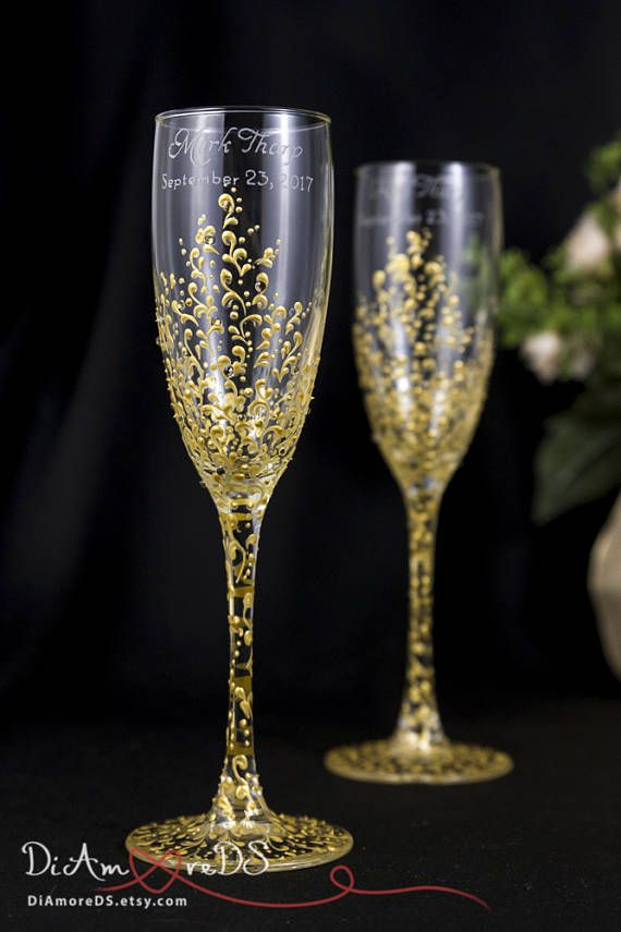 Gold Lace Personalized Wedding Set Champagne Flutes Wedding Toasting Flutes Set Wedding Toasting Glasses Personalized Wedding Toasting Glasses Wedding Glasses