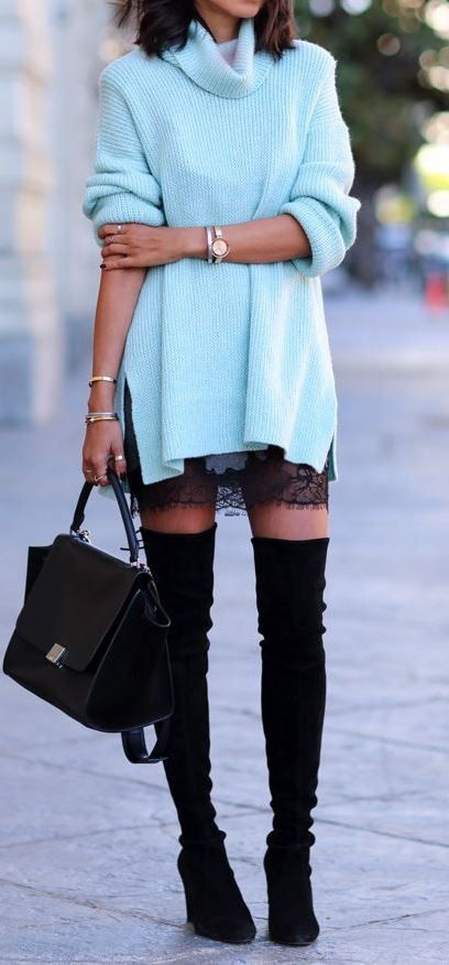 amazing outfit idea : blue sweater + skirt + bag + over the knee boots