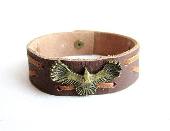 Eagle leather bracelet men men leather cuff men by Bravemenjewelry